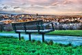 Meersbrook park bench old in overlooking sheffield city centre uk Stock Photos