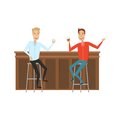 Meet and discuss at the bar with good friends. Flat and cartoon style. White background. Vector illustration.