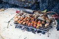 Meet and fish grilled on a beach fresh Royalty Free Stock Photo