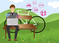 Meet people illustration on social network cartoon background Stock Photography