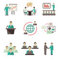Meet people online icons set business global discussions teamwork collaboration meetings and presentations concept isolated vector Royalty Free Stock Photo