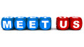 Meet us words in blue and red made up of word blocks on white Royalty Free Stock Photo