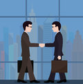The meeting of businessmen conclusion of the transaction on image is presented Stock Photos