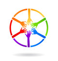 Meeting circle hands colorful logo design Royalty Free Stock Photo