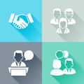 Meeting colorful flat icons set of about business concept Royalty Free Stock Photos
