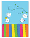 Meeting and love cheerful card two cute little birds met fell in illustration Stock Photography