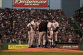 Meeting on the Mound, 2003 ALCS Game 3 Royalty Free Stock Photo