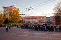 Meeting of the Olympic flame in the city of Ivanovo, evening October 17, 2013 Royalty Free Stock Photos
