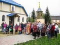 Meeting parish of the orthodox church in kaluga region russia with orthodox bikers christians in there are a number Stock Photos