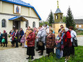 Meeting parish of the orthodox church in kaluga region russia with orthodox bikers christians in there are a number Royalty Free Stock Photography