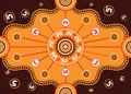 Meeting place, aboriginal art vector painting. Royalty Free Stock Photo