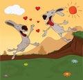 Meeting of rabbits. Cartoon Royalty Free Stock Images