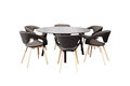 Meeting round table and black office chairs for conference, isol Royalty Free Stock Photo