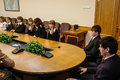 Meeting with students the governor of the kaluga region in russia anatoly artamonov annually Stock Photo