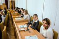 Meeting with students the governor of the kaluga region in russia anatoly artamonov annually Royalty Free Stock Images