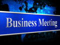 Meetings business indicates convene conference and commerce representing commercial session agenda Stock Photos
