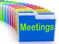 Meetings folders means talk discussion or conference meaning Royalty Free Stock Photography