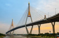 Mega Bridge at twilight, Bangkok,Thailand Stock Photos