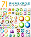 Mega collection of circles, spheres, round swirls design elements Royalty Free Stock Photo