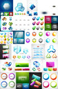 Mega collection of glass web banner plates, boxes buttons and sphere icons Royalty Free Stock Photo
