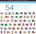 Mega collection of 54 square geometrical web banners Royalty Free Stock Photo