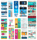 Mega collection of website templates web header headers footers menu drop menu icons design elements for pages panels buttons Royalty Free Stock Photo