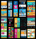 Mega collection of website templates web headers footers menu drop menu icons design elements for pages panels buttons Stock Images