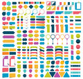 Mega collections of infographics flat design elements, buttons, stickers, note papers, pointers. Royalty Free Stock Photo