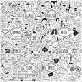 Mega doodle icons set of social business medicine vacation and school banners arrows and speech bubbles hand drawn designer Stock Image
