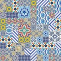 Mega Gorgeous seamless patchwork pattern from colorful Moroccan, Portuguese tiles, Azulejo, ornaments. Royalty Free Stock Photo