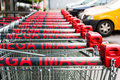 Mega image shopping carts outdoors Royalty Free Stock Image