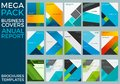 Mega Pack of Business Annual Report Brochure Templates, Squares, Lines, Triangles, Waves