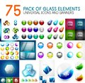 Mega pack of vector glass glossy design elements Royalty Free Stock Photo