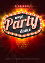 Mega Party Dance Poster Background Template with retro light frame on red flame background - Vector Illustration. Royalty Free Stock Photo