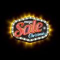 Mega Sale Christmas retro light frame template. Vector illustration Royalty Free Stock Photo