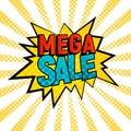 Mega Sale comic style vector card