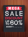 Mega Sale flyer or template with discount offer. Royalty Free Stock Photo