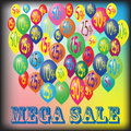 Mega sale megadiscount by balloons with a discount size Stock Photo