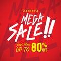 Mega Sale 80 percent heading red design for banner or poster. Sa