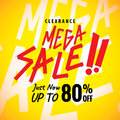 Mega Sale 80 percent heading yellow design for banner or poster.