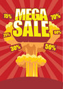 Mega sale poster is and all is separated Stock Photo