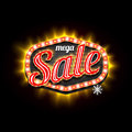 Mega Sale retro light frame template. Vector illustration. Royalty Free Stock Photo