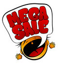 Mega Sale screaming girl. Royalty Free Stock Photo