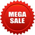Mega sale seal stamp badge red Royalty Free Stock Photo