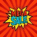 Mega Sale star bubble comic style vector illustration