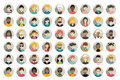 Mega set of circle persons, avatars, people heads  different nationality in flat style. Royalty Free Stock Photo