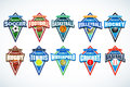 Mega set of colorful sports logos soccer, football, basketball, volleyball, hockey, rugby, tennis, waterpolo, cricket, baseball. Royalty Free Stock Photo