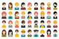 Mega set of diverse people heads, avatars isolated on white background. Different clothes, hair styles.