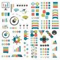 Mega set of infographics elements charts, graphs, circle charts, diagrams, speech bubbles. Flat and 3D design