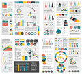 Mega set of infographics elements charts graphs circle charts diagrams speech bubbles flat and d design vector Stock Photography